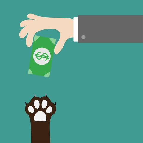illustration of hand giving paw money